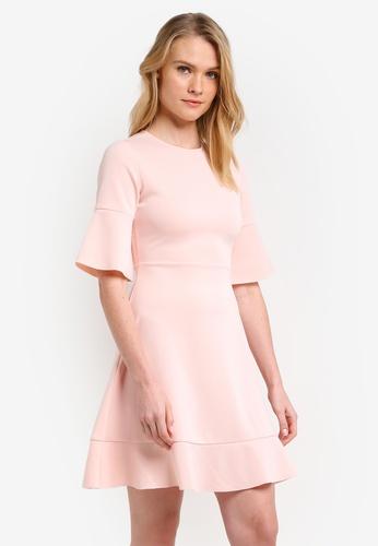 ZALORA pink Essential Ruffle Hem 3/4 Sleeve Dress 5A85EZZ8F2546FGS_1