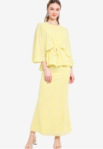 Lubna yellow Flare Sleeve With Drawstring Kurung 0058CAA6E3D8EDGS_1