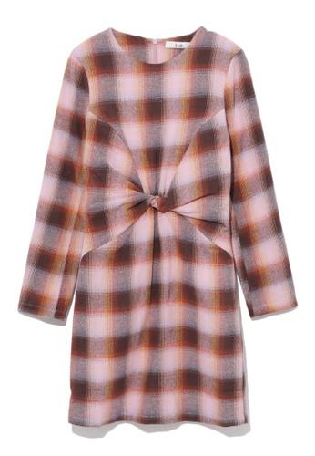 b+ab pink Gathered plaid dress 5EDC1AAA0D07E2GS_1