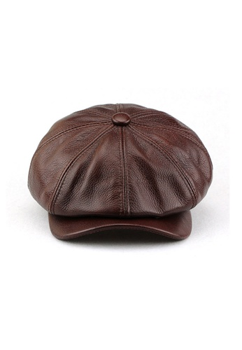 Kings Collection brown Dark Brown British Cowhide Octagonal Hat 8A583ACBE2A5BBGS_1