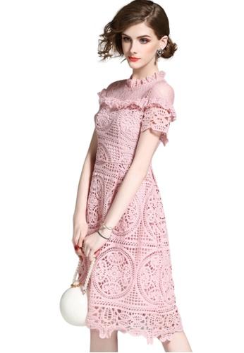 Sunnydaysweety pink Elegant Lace One-piece Short Sleeve Dress A051733-0PI 404BDAA928220BGS_1