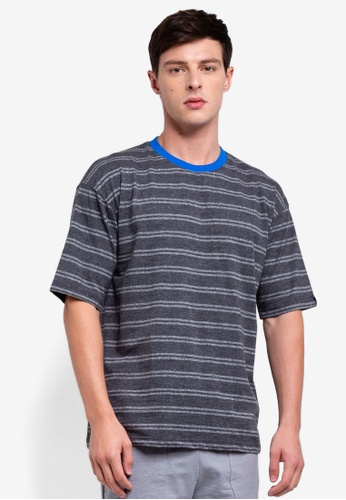 UniqTee 灰色 條紋T恤 52110AA5D7828DGS_1