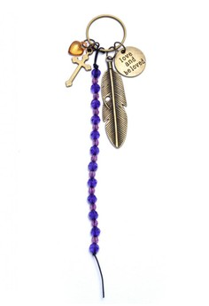 Heart Cross Crucifix Beads Feather Love and Be Loved Bag Charm Key Chain