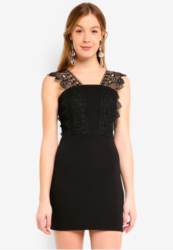 Mela London black Lace Panel Dress 3FB96AA14B3CAAGS_1