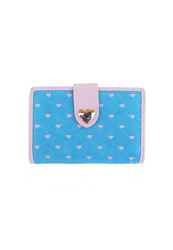 VERNYX - Woman's Pretty Zys Heart Emboss Wallet DO359 Blue - Dompet Pendek Wanita
