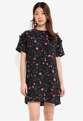 Something Borrowed black Ruffle Sleeve Shift Dress D24DEAAB3CC2C7GS_1