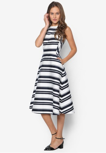 條紋傘擺及膝洋裝, 服飾, zalora鞋子評價洋裝