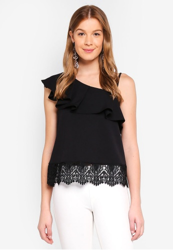 Angeleye black One Shoulder Lace Top DCE72AA10E65F9GS_1
