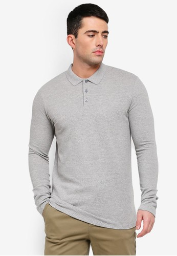 Selected Homme grey Wave Knitted Long Sleeve Polo Shirt 93A20AA1A2695AGS_1