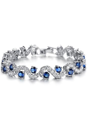 Buy Youniq Youniq Blue Diamondate Cz Platinum Plated Silver Bracelet Online Zalora Malaysia