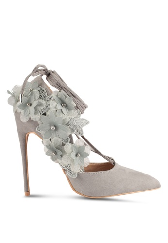 Lost Ink GAIL FLORAL SIDE COURT - High heels - light grey QshLAgf0f
