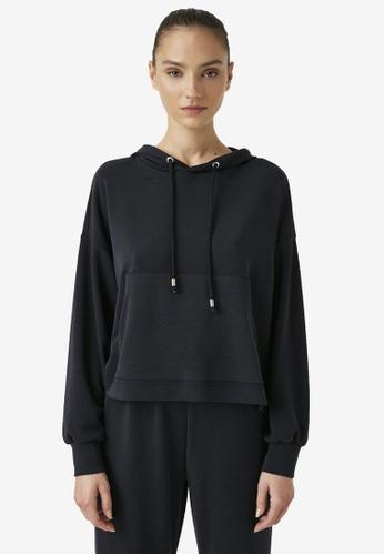 KOTON black Oversized Hooded Sweatshirt 186C2AAE37D234GS_1