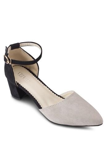 Luluesprit分店地址 撞色尖頭麂皮粗跟涼鞋, 女鞋, 鞋