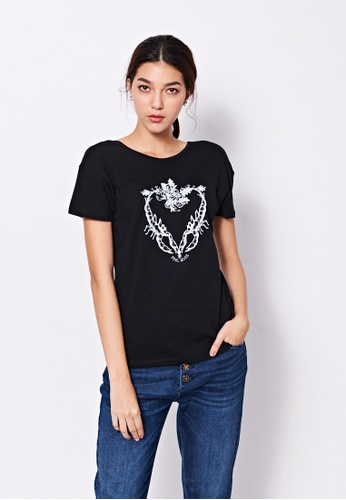 Sisley black Printed T-shirt 6F0A7AAFA2168CGS_1