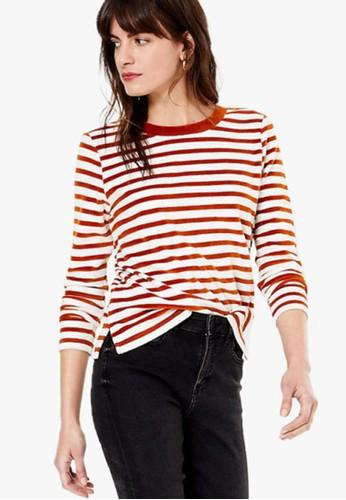MARKS & SPENCER orange Velour Striped Sweatshirt 8DA4EAA8137428GS_1