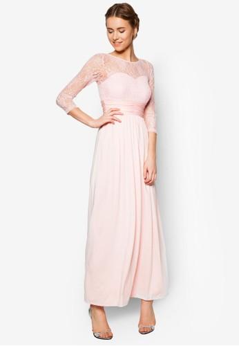zalora 包包評價透膚蕾絲拼肩長禮服, 服飾, 服飾