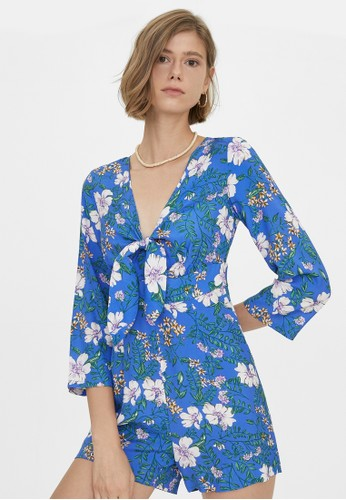 Pomelo blue Long Sleeves Bold Floral Tie Front Romper - Blue F2E5AAA0A3C384GS_1