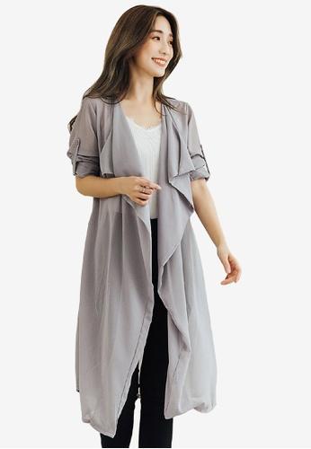 Sesura grey Draped Essence Longline Cardigan 09C1DAADEBE0AEGS_1