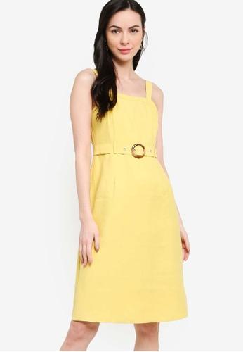 ZALORA yellow Midi Fit and Flare Dress With Belt 82C8CAAC58C062GS_1
