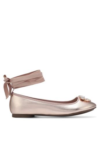 Velvet brown Embellished Lace Up Ballerina Flats C97BCSHD2CA03EGS_1