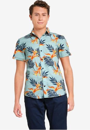 BLEND 藍色 and 多色 Palm Print 短袖襯衫 7FF29AA9B79419GS_1