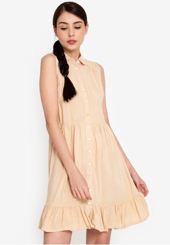 OLIVIA beige Maxine Button Down Baby Doll Dress 244D6AA6FFEFEFGS_1