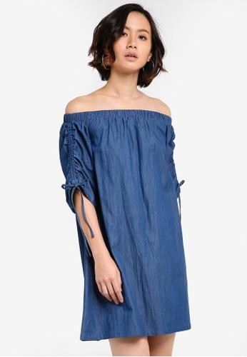 ZALORA blue Off The Shoulder Drawstring Dress 7E8FCAA0AF109BGS_1