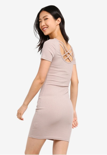 ZALORA BASICS beige Basic Ribbed Dress With Cross Back 4B28BAA3CE4F04GS_1