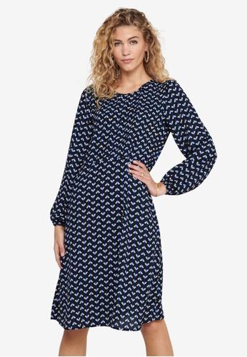 JACQUELINE DE YONG blue Boston Long Sleeve Below-Knee Dress F734FAAD68ED3AGS_1