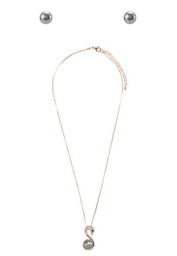 閃鑽esprit暢貨中心珍珠天鵝首飾組合, 飾品配件, 項鍊