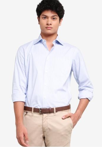 Sacoor Brothers 藍色 男士標準剪裁超舒適易燙襯衫 D1938AA47F5D47GS_1