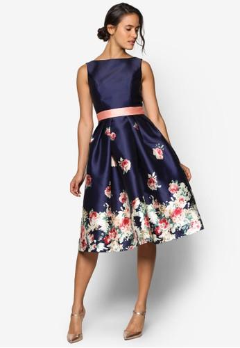 Kady 撞色束腰印花裙擺洋裝, 服飾, 洋esprit高雄門市裝