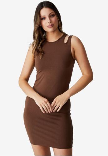 Cotton On brown Petite Eden Cut Out Shoulder Mini Dress 856D0AA62223A1GS_1