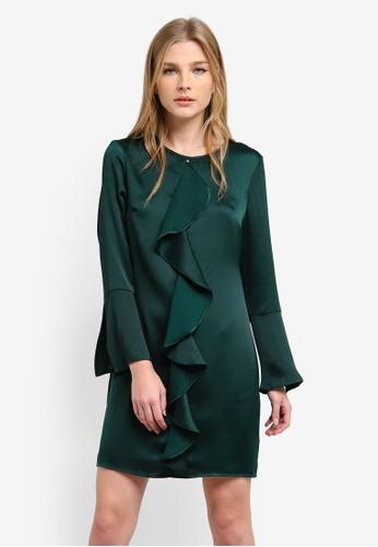 Dorothy Perkins green Ruffle Front Shift Dress DO816AA0S2J2MY_1