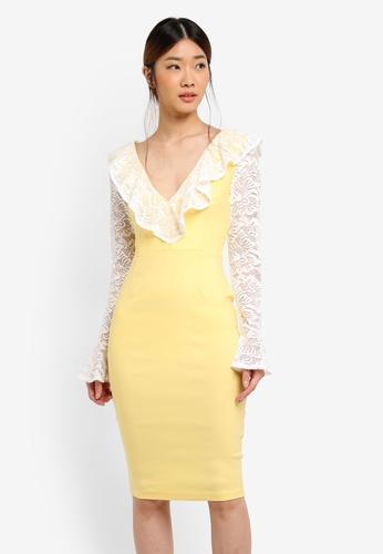 Vesper yellow Mariella Lace Frill Long Sleeve Dress 9EDD6AA54A5E50GS_1