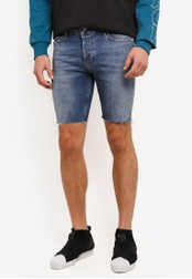 Topman blue Mid Wash Stretch Skinny Denim Shorts TO413AA0S7XOMY_1