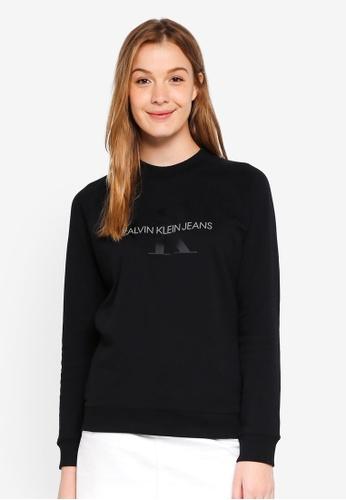 Calvin Klein black A-Satin Monogram Rel Sweatshirt - Calvin Klein Jeans 61E5CAAD079AE6GS_1