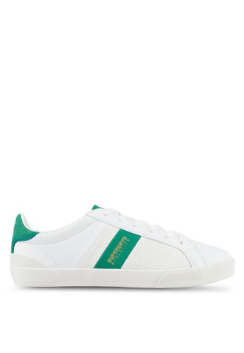 Superdry white and green and multi Vintage Court Trainers 74D43SH4F212F6GS_1