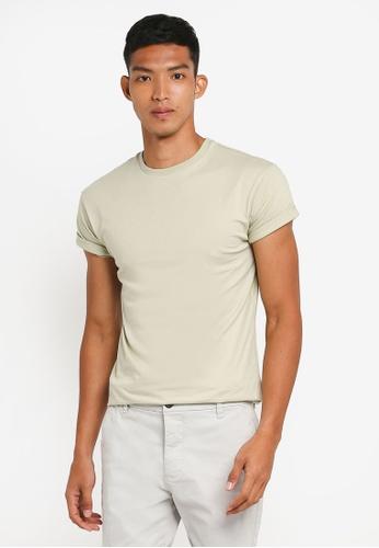 Topman 綠色 素色短袖修身T恤 FFDFCAAD45854FGS_1