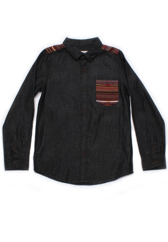 Mini Moley black Aztec Embroidered Yoke Boy's Long Sleeve Shirt 358B1KA70E8FABGS_1