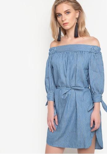 Spring Fling blue Offshoulder Pinstripes Belted Dress SP673AA84SEXPH_1