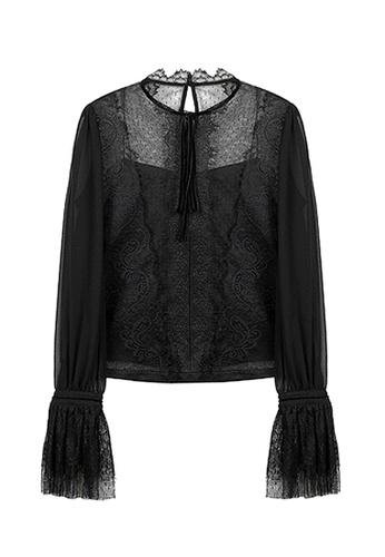 Twenty Eight Shoes black VANSA Lace Long Sleeves Blouse  VCW-Bs1035 2F032AADCAC9BCGS_1