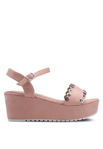 Nose pink Eyelet Wedge Sandals 5247BSH399C37CGS_1