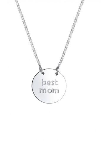 Elli Germany silver Perhiasan Wanita Perak Asli - Silver Kalung Coin Wording Best Mum EL948AC33GHAID_1