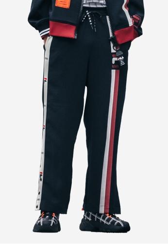 FILA black FILA × Maison MIHARA YASUHIRO Colour Blocks Side Striped Popper Pants 94723AAD309E67GS_1