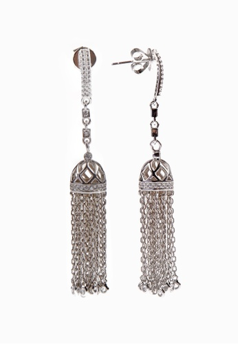 SHANTAL JEWELRY silver Cubic Zirconia Silver Tassel Stud Earrings SH814AC10TXXSG_1