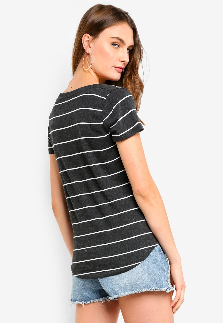 Wide Stripe White V Top Charcoal On The Deep Marle Cotton XgYqz
