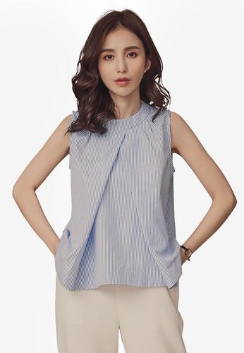 Kodz blue Striped Sleeveless Shirt A82DBAAC775F9CGS_1