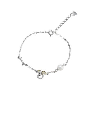 Glamorousky white 925 Sterling Silver Simple Cute Puppy Cubic Zirconia Bracelet with Freshwater Pearls 52460AC145B78CGS_1