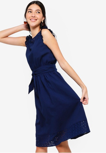 ZALORA navy Sleeveless Embroidered Dress 58070AA5043D55GS_1